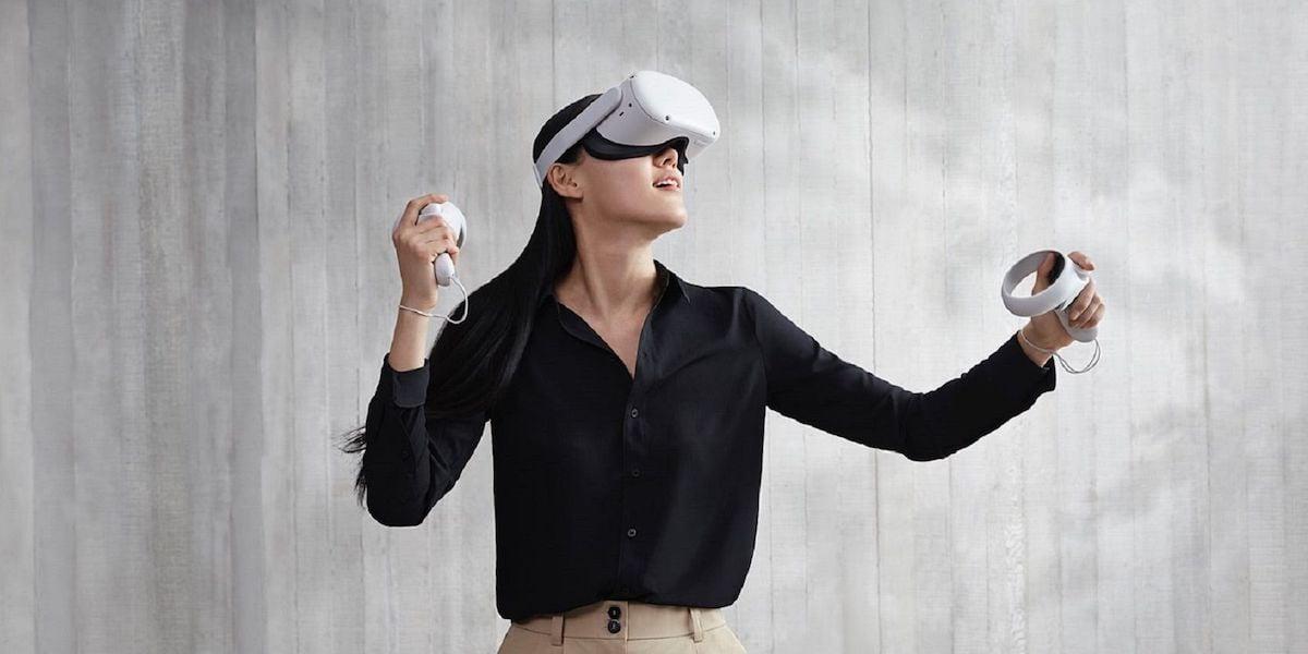 Woman demoing Oculus Quest 2 VR headset