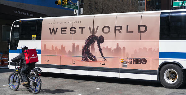 New York City bus showing HBO ad