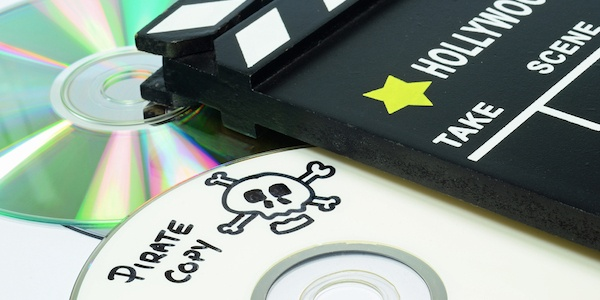 Copied CDs with pirate logo on