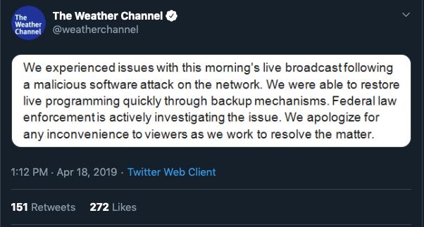 Weather channel tweet